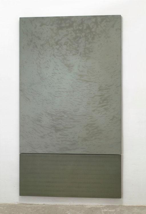 Alcyone | 2001 | Kunstharz, Steinmehl, Ölfarbe auf Leinwand | 2 Teile, 160 x 120 cm und 50 x 120 cm