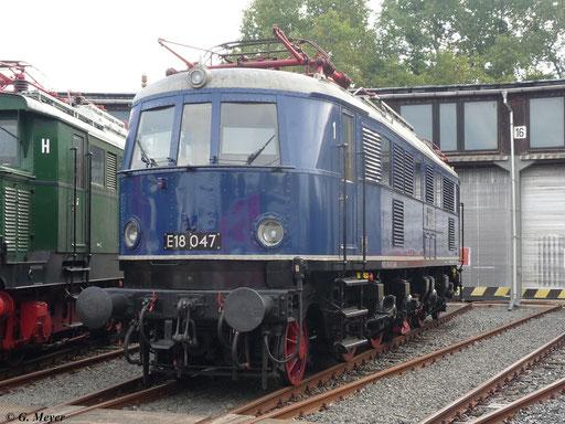 Am 29. September 2012 war E18 047 im Bw Luth. Wittenberg zu Gast