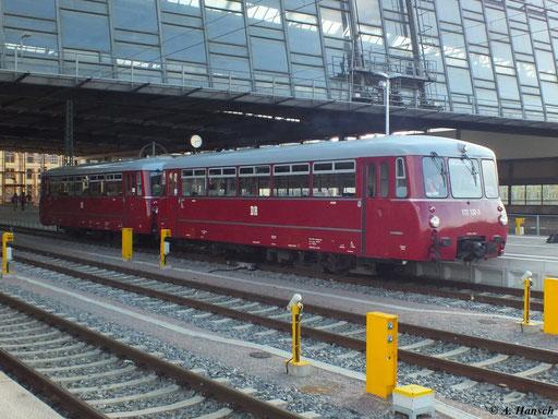 172 132-3 und 172 171-1 fuhren am 22. April 2012 von Heringsdorf nach Chemnitz. Hier verlässt der Zug nach der Rückkehr aus Heringsdorf den Chemnitzer Hbf.