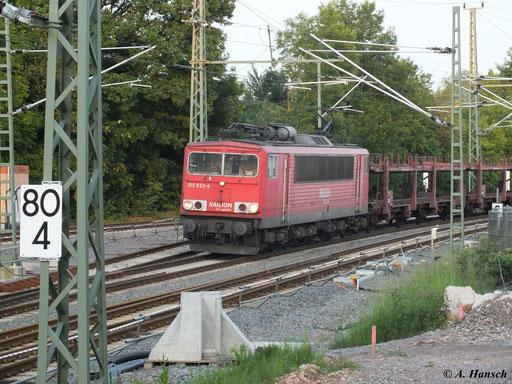 155 033-4 steht mit ihrem Autoleerzug hier kurz vor der Durchfahrt durch Chemnitz Hbf. (10. Juni 2013)