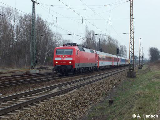 120 108-6 durchfährt mit ihrem IC den Hp Leipzig Thekla (18. März 2014)
