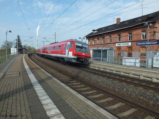 Am 25. April 2013 waren aushilfsweise 610 016 und 610 009 als Franken-Sachsen-Express unterwegs. Hier passiert der Zug den Bf. Chemnitz-Hilbersdorf