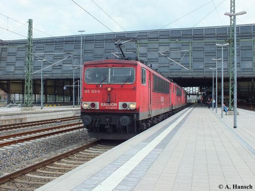 28. Juni 2013: Gleich drei 155er durchfahren als Lokzug Chemnitz Hbf. 155 103-5 hat 155 252-0 und 155 016-9 am Haken
