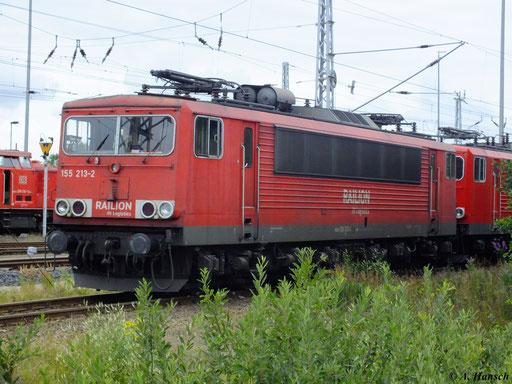 155 213-2 vor 155 019-3 und 155 168-8 am 10. August 2012 im Güterbahnhof Mukran Mitte