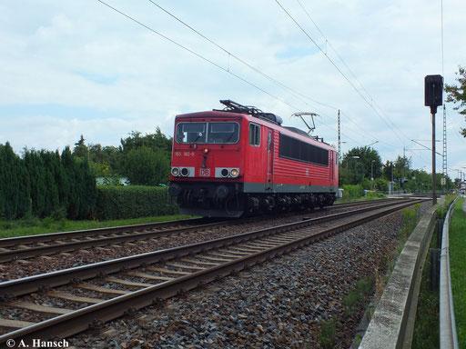 155 182-9 durchfährt am 13. August 2013 den Hp Dresden Stetzsch