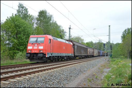 14. Mai 2016 in Chemnitz, ehem. Abzw. Furth: 185 385-2 zieht GA 52811 aus Braunschweig gen Mosel