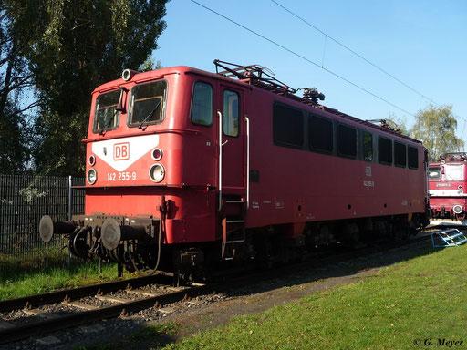 """142 255-9 sonnt sich am 24. September 2011 im Bw Luth. Wittenberg. Die Loks der BR E42 sind auch unter dem Spitznamen """"Holzroller"""" bekannt"""