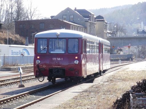 172 760-1 und 172 171-1 mit Sonderzug Chemnitz - Annaberg-Buchholz bei der Einfahrt in den Bf. Aue (Sachsen)