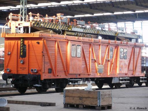 Am 16. Januar 2011 war der Fahrleitungsmontagewagen (FMW Nr.2) in Chemnitz Hbf. im Einsatz