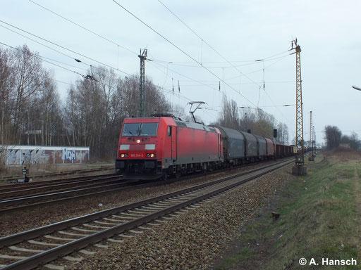 185 314-2 zieht am 18. März 2014 einen Güterzug durch Leipzig Thekla