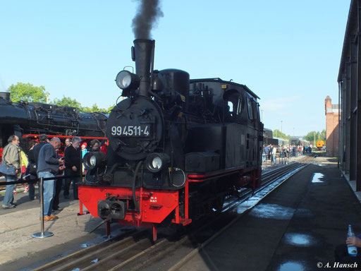 Am 1. September 2012 war 99 4511-4 zu den XVIII. Meininger Dampfloktagen im ehgemaligen RAW zu sehen