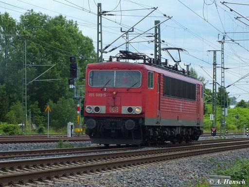 155 099-5 rollt am 15. Juni 2013 vorbei am AW Chemnitz in Richtung Riesa