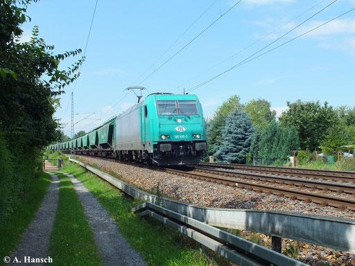 Ein optisch ansprechendes Gesamtbild ergibt ITL 185 610-3 mit ihrem Güterzug in Dresden Stetzsch (13. August 2013)