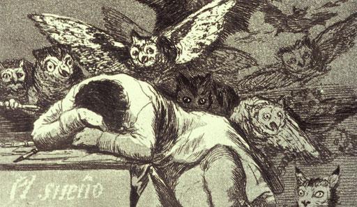 Goya – Der Schlaf der Vernunft gebiert Ungeheuer, Radierung 1799