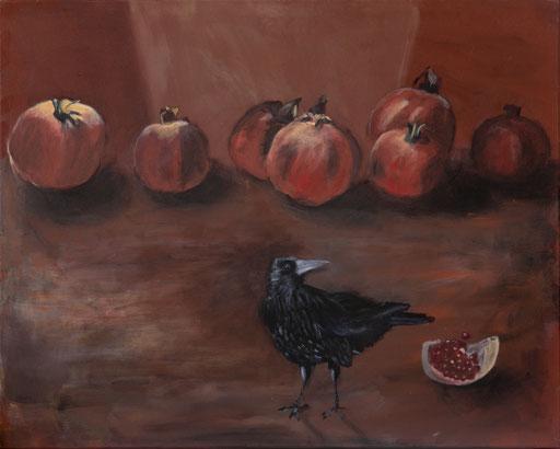 Granatäpfel mit Krähe, Acryl, 80x100