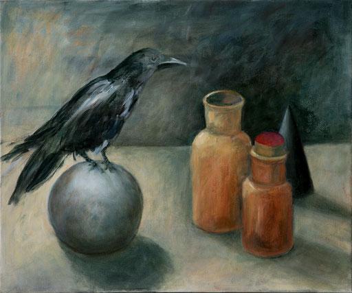 Krähe mit Kugel, Öl auf Lw, 50x60