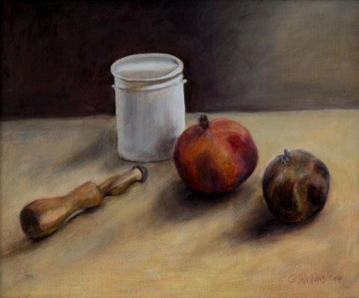 zwei Granatäpfel mit Dose, Öl auf Lw, 50x60,