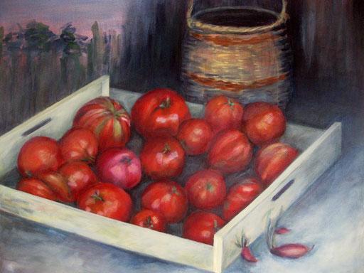 les tomates d'André, Acryl, 80x100