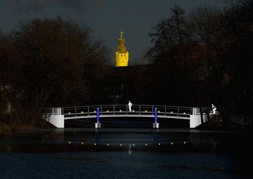 Die Wirkung der Brücke mit dem Vorschlag zur Ausleuchtung in der Nacht.