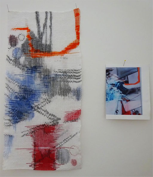 Ikat-Gewebe nach einer Graphik von Zara Laschinski