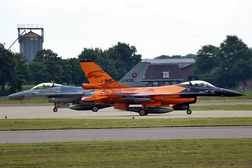 "Volkel Air Base - RLNAF F-16 J-015 - J-630 ""cross taxing"""