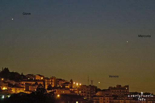 Tripla congiunzione tra Giove Venere e Mercurio 25/05/2013