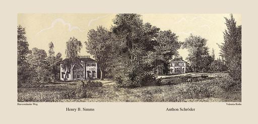 Harvestehuder Weg Landhaus Simms und Schröder von Valentin Ruths um 1850