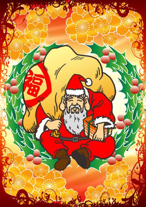 201212 クリスマスカード えびすサンタ