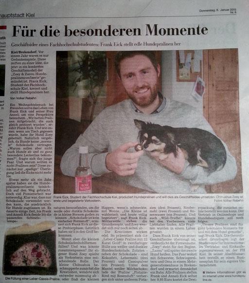 Kieler Nachrichten Hundeschokolade Hundepralinen Frank Eick