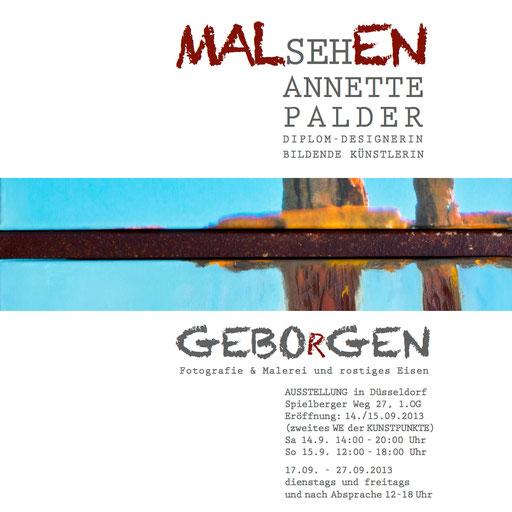 """Plakat, Ausstellung, """"GEBOrGEN"""", Annette Palder, Düsseldorf, Atelier MALsehEN"""