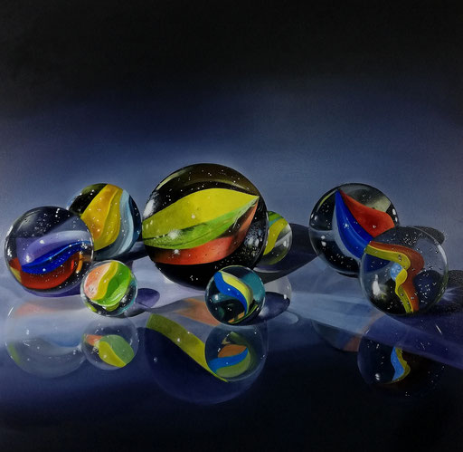 COLORFUL MARBLES,  Öllasuren auf Leinwand, 100 x 100 cm