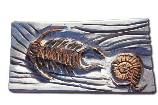 Fossilien lackiert und abgeflammt; 70cm x 35cm; Lärche