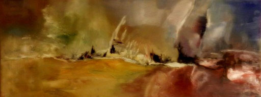 Storm in Duffel   -  Olieverf  40 x 100 cm