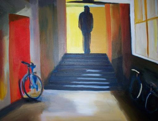Thuiskomst  - Acryl  120 x 100 cm