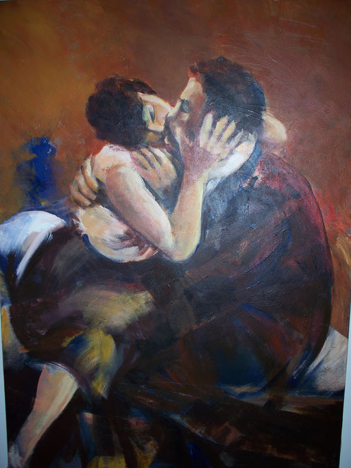 Ze konden het kussen niet laten  -  Acryl  140 x 95 cm