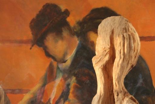Spijt en koppel  -  beeld en schilderij