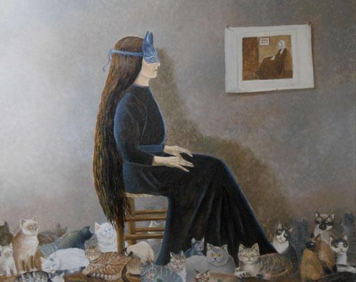 La dame aux chats-huile sur toile-110X90
