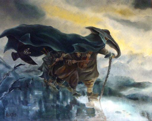 musique sous le manteau-huile sur toile-80x120