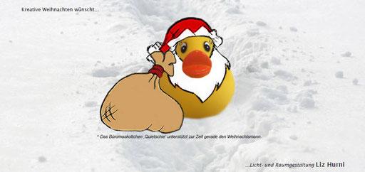 6. Themenkarte - Quietschie hat sich bereits aus dem Büro verabschiedet und unterstützt den Weihnachtsmann - Winterpause vom 19.12.15 bis und mit 03.01.16