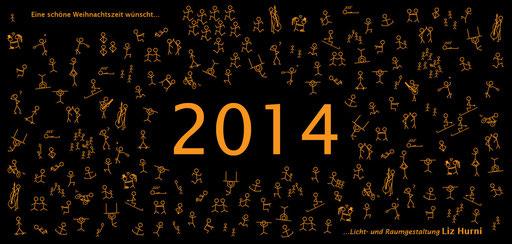 2. Themenkarte welche mit weihnachtlichen Grüssen und einem kreativen Ausblick in's 2014 verschickt wurde - Winterpause vom 21.12.13 bis und mit 05.01.14
