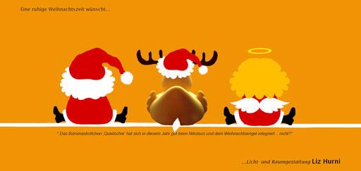 8. Themenkarte - Quietschie hat sich bereits aus dem Büro verabschiedet und sich perfekt beim Weihnachtsmann und dem Weihnachtsengel integriert - Winterpause vom 19.12.16 bis und mit 06.01.17.