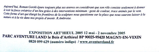 2005 - Art'hieul, Magny-en-Vexin  Parc Aventure Land - Roman Gorski