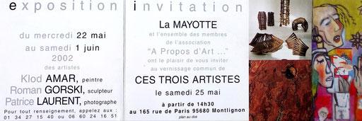 """2002 - Exposition à  La Mayotte, Montlignon  Association """"A propos d'art""""  - Roman Gorski"""