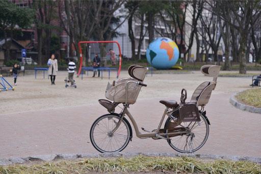 ワイド(広角)にして自転車を同じ大きさに撮ってみると