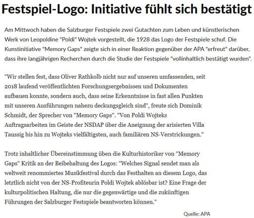 """Stellungnahme von Memory Gaps zur Studie betr. """"Logo"""" der Salzburger Festspiele von Poldi Wojtek, 29.10.2020 (SN, Kultur; Quelle: APA)"""