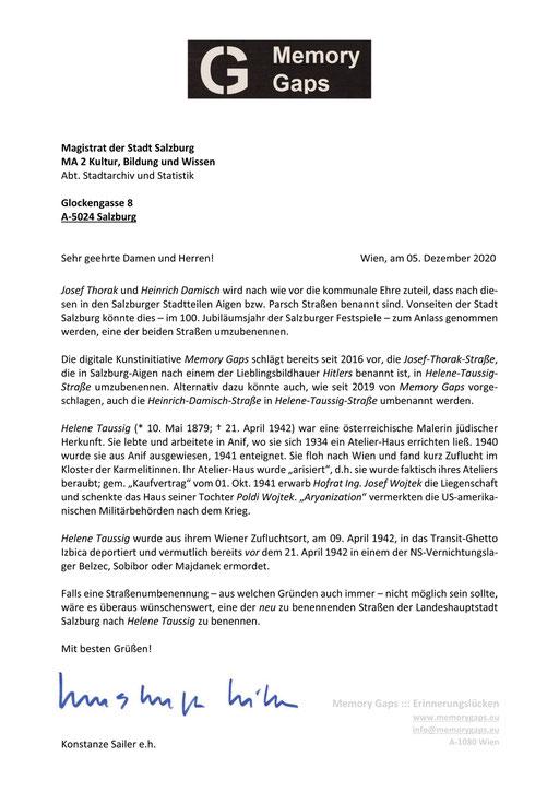 Brief von Konstanze Sailer / Memory Gaps an den Magistrat der Landeshauptstadt Salzburg v. 05. Dez. 2020, zwecks Umbenennung bzw. Neubenennung einer Salzburger Straße nach Helene Taussig