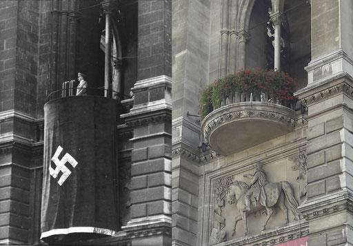 Hitler auf dem provisorischen Holzbalkon (li). Der nachträglich, ab Ende 1938 errichtete Steinbalkon (re). Foto 1938 Lothar Rübelt, ©: ÖNB Bildarchiv und Grafiksammlung. Foto 2018 ©: Memory Gaps