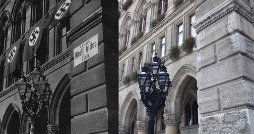 """NS-Umbenennung von Plätzen und Straßen: Tafel """"Adolf Hitler Platz"""" am Wiener Rathaus. Foto 1938 ©: ÖNB Bildarchiv und Grafiksammlung. Foto 2018 ©: Memory Gaps"""