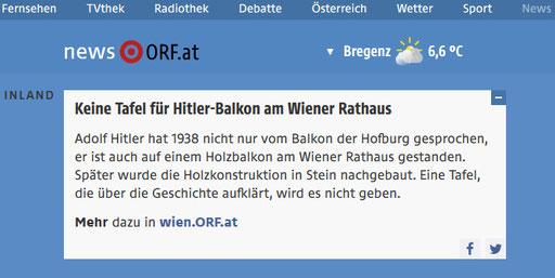 """ORF news / ORF Wien news, 14. März 2020, """"Hitler-Balkon"""", Memory Gaps"""