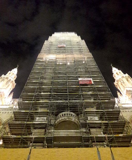 Hauptturm des Wiener Rathauses, März 2019, Beginn der Renovierungsarbeiten. 2019 ©: Memory Gaps